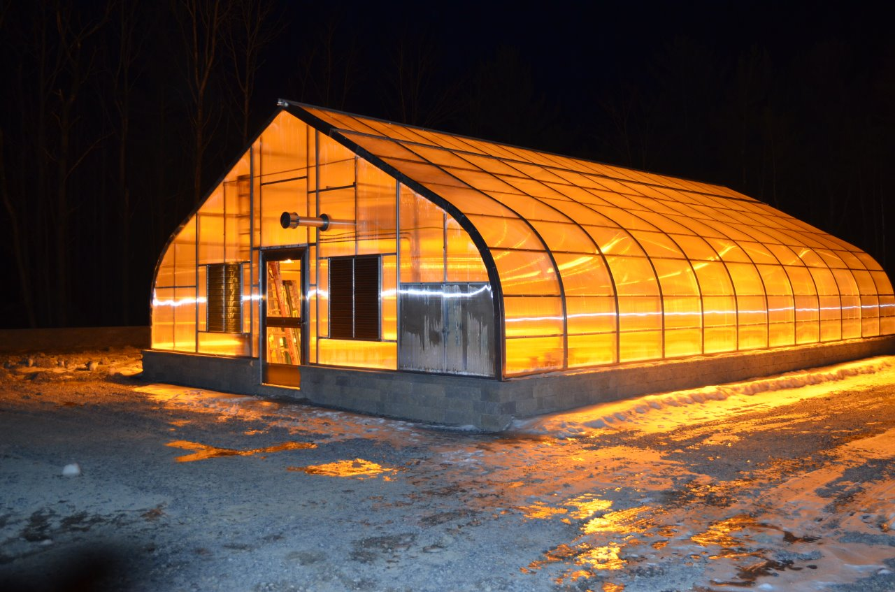 A wintry view of a Nor'Easter Greenhouse by Rimol Greenhouse Systems