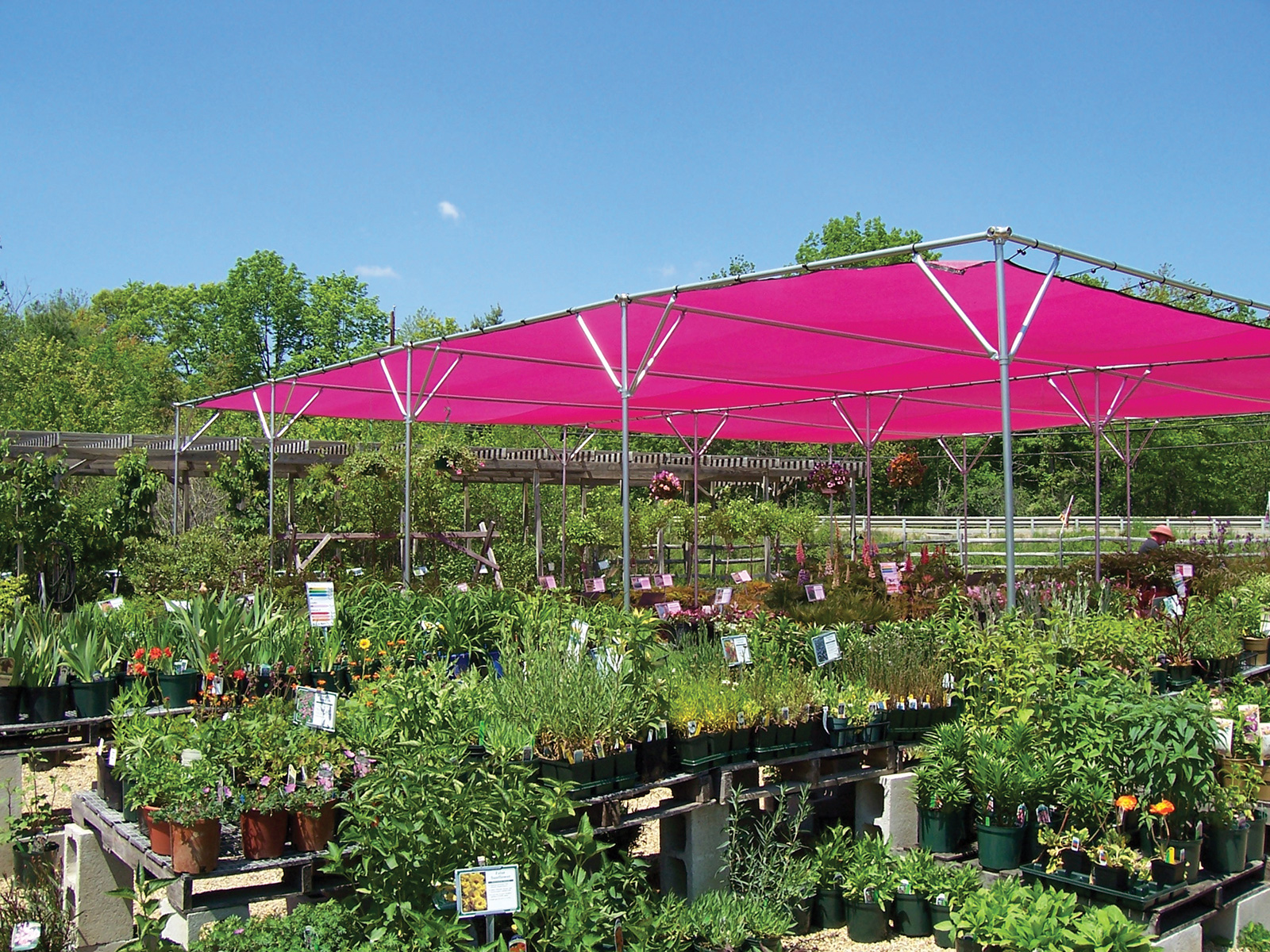 rimol shade structure in a garden center