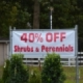 A sign outside a garden center showing 40% off shrubs & perennials